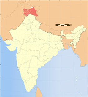 Location of Jammu and Kashmir in India