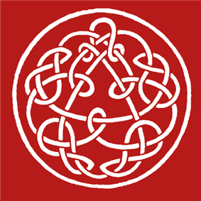 Modern Celtic-inspired design involving a circle surrounding a triangle; between them are undulating and crossing patterns. The background is crimson.
