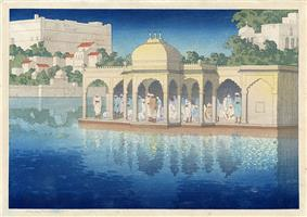 'Prayers at Sunset, Udaipur, India', woodblock print by Charles W. Bartlett, 1919, Honolulu Academy of Arts.jpg