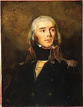 Painting shows a young man with long white hair wearing a dark military uniform.