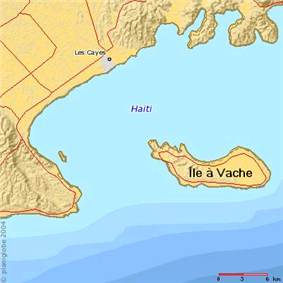 Île-à-Vache and the coast of southwestern Haiti