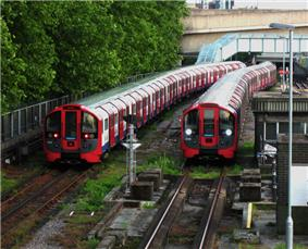 Two Victoria line trains sitting in sidings