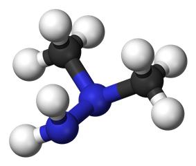 Ball and stick model of unsymmetrical dimethylhydrazine