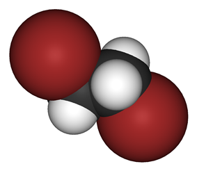 Spacefill model of 1,2-dibromoethane