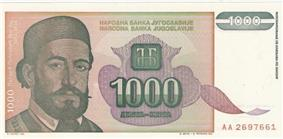 Multi-coloured banknote with picture of bearded, mustachioed man