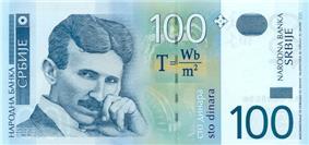 100 dinara obverse