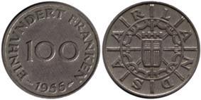 100 Saar francs reverse and obverse