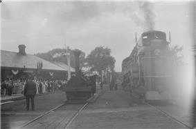 In celebration of the 100th anniversary of the first train in Canada, a replica of an old steam engine used by The Champlain & St. Lawrence Railway was brought into the Saint-Jean-sur-Richelieu railway station in 1936