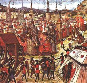 A depiction of the capture  of Jerusalem in 1099 from a medieval manuscript. The burning buildings of Jerusalem are centered in the image. The various crusaders are surrounding and besieging the village armed for an attack.