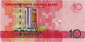 Central Bank of Turkmenistan on 10 Turkmenistan manat