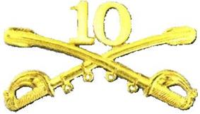 A computer generated reproduction of the insignia of the Union Army 10th Regiment cavalry branch. The insignia is displayed in gold and consists of two sheafed swords crossing over each other at a 45 degree angle pointing upwards with a Roman numeral 10