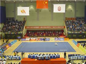 A typical wushu competition, here represented by the 10th All-China Games.