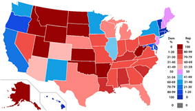 Percent of members of the House of Representatives from each party by state.
