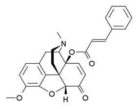 Chemical structure of 14-Cinnamoyloxycodeinone.