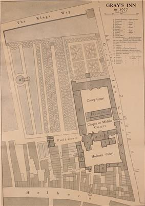Old layout of Gray's Inn, showing the buildings, the walks and the surrounding roads
