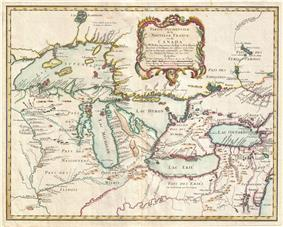 Northern Michigan as shown on a 1755 Map of New France showing various islands, land features, rivers, and settlements. (In French,