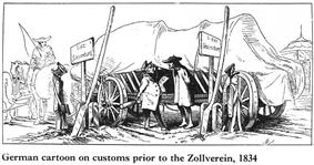 drawing of a wagon loaded with barrels, covered with a tarp, stuck between two border signs, the driver paying a fee to cross. Caption reads