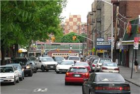 Looking east on 183d to 183rd Street (IRT Jerome Avenue Line) from Croton Aqueduct three blocks away