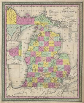 As settlers arrived between 1840 and 1853, the state broke up the single Michilimackinac County and established platted counties across Northern Michigan.