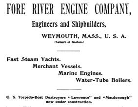 Advertisement for the shipyard, advertising the products that it built at the time