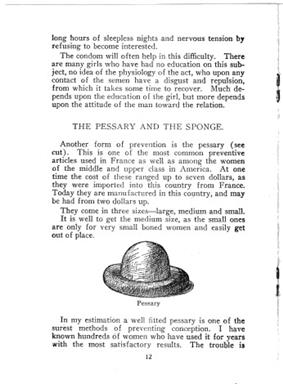 A page from a book, published in 1914. The page is mostly words, with a picture of a contraceptive diagram. The text describes birth control techniques.