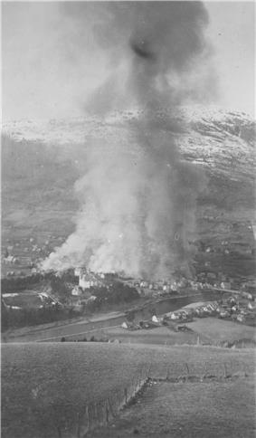 Fire in Voss after April 1940 bombing.