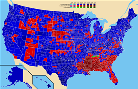 Map showing 1964 election results by county