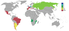 World map showing results of participants of the 1966 soccer world cup