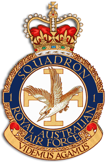Crest of 1 Squadron, Royal Australian Air Force, featuring a diving kookaburra before the Jerusalem cross, and the motto