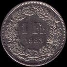 1 Swiss franc 1983 reverse