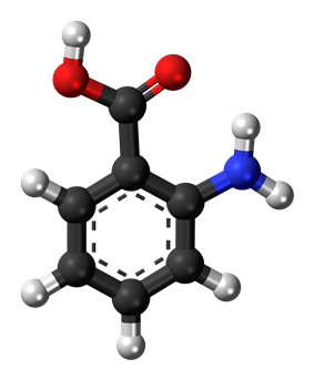 Ball-and-stick model of the anthranilic acid molecule