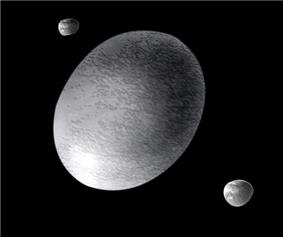 Artistic impression of Haumea and its two known satellites
