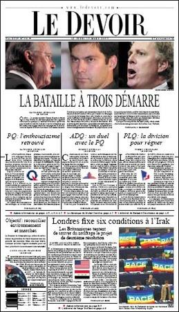 The battle of three begins. Le Devoir on the 2003 Quebec election.