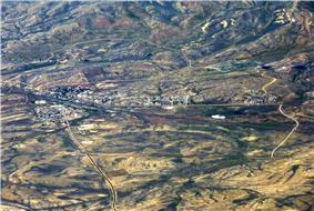 Aerial view of Hanna and surrounding area