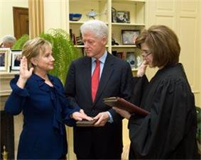 Clinton taking oath as Secretary of State
