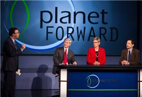 Frank Sesno talks to guests Thomas Connelly, Jr., executive vice president and chief innovation officer for DuPont, Jennifer Granholm, former governor of Michigan, and Andrew Revkin.