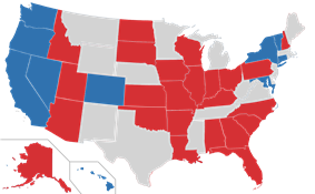 Color coded map of 2016 Senate races