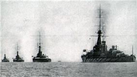 Four battleships at sea