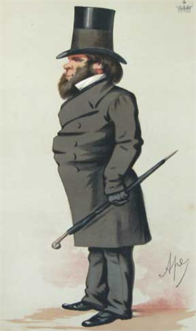 Squat, heavily bearded and smartly dressed man in a suit and very large top hat