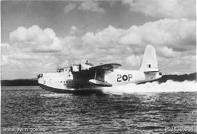A No. 461 Squadron Sunderland Mark V landing at Pembroke Dock, Wales in 1944