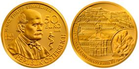 At left, the obverse of a golden coin depicts a bust of Semmelweis as an old man, accompanied by the rod of Asclepius; it bears the inscription