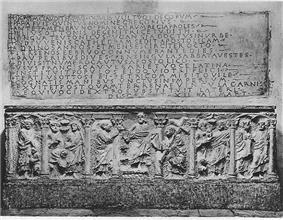 A photo of an early Christian sarcophagus
