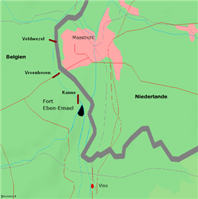 Map of the area between Belgium and the Netherlands near Fort Eben-Emael