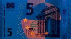 5 euro note under UV light (Obverse)