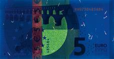 5 euro note under UV light (Reverse)