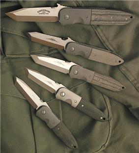 Five tanto-bladed folding knives showing subtle differences in blade geometry.