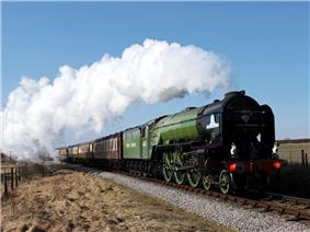 Steam locomotive in green livery hauling a passenger train