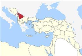 Location of Kosovo Vilayet