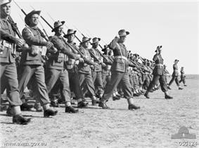 Members of the 9th Division parade at Gaza Airport in late 1942