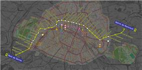 Geographically accurate path of Paris metro line 9.